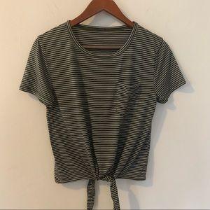 Madewell Striped Tie Tee Shirt, M